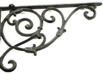 Cast Iron Corner Brace Large Shelf Bracket Ornate Shelf Support For Kitchen Canisters Heavy Collectibles
