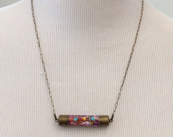 Handmade Necklace w/Colorful Hand Painted Beaded Pendant