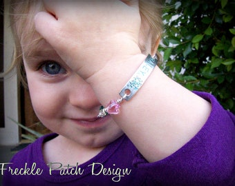 Children's ID Bracelet, back to school, argentium silver / Swarovski crystal/ CUSTOM