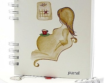 Blank Pregnancy Journal, Pregnancy Scrapbook, Baby Keepsake, or Pregnancy Announcement Gift, with Sketch Art - 'Counting Days', 240p.