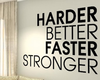 XXL Harder Better Faster Workout Motivational Fitness Gym Life Quote Wall  Vinyl Decals Stickers DIY Art