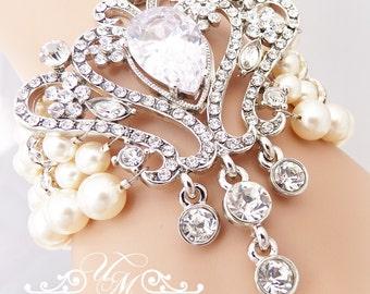 Wedding Jewelry Swarovski Pearl Bracelet Four strands Pearl Rhinestone Bracelet with Raindrop Bridal Jewelry Bridesmaids jewelry - ADABEL