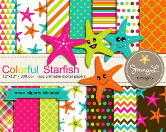 Colorful Starfish Digital papers and Clipart, Starfishes, Baby Shower, Birthday Scrapbooking Paper Party Theme,