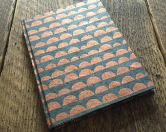 Handmade Paper Address Book ~ Lokta Paper ~ Copper Scallop Pattern