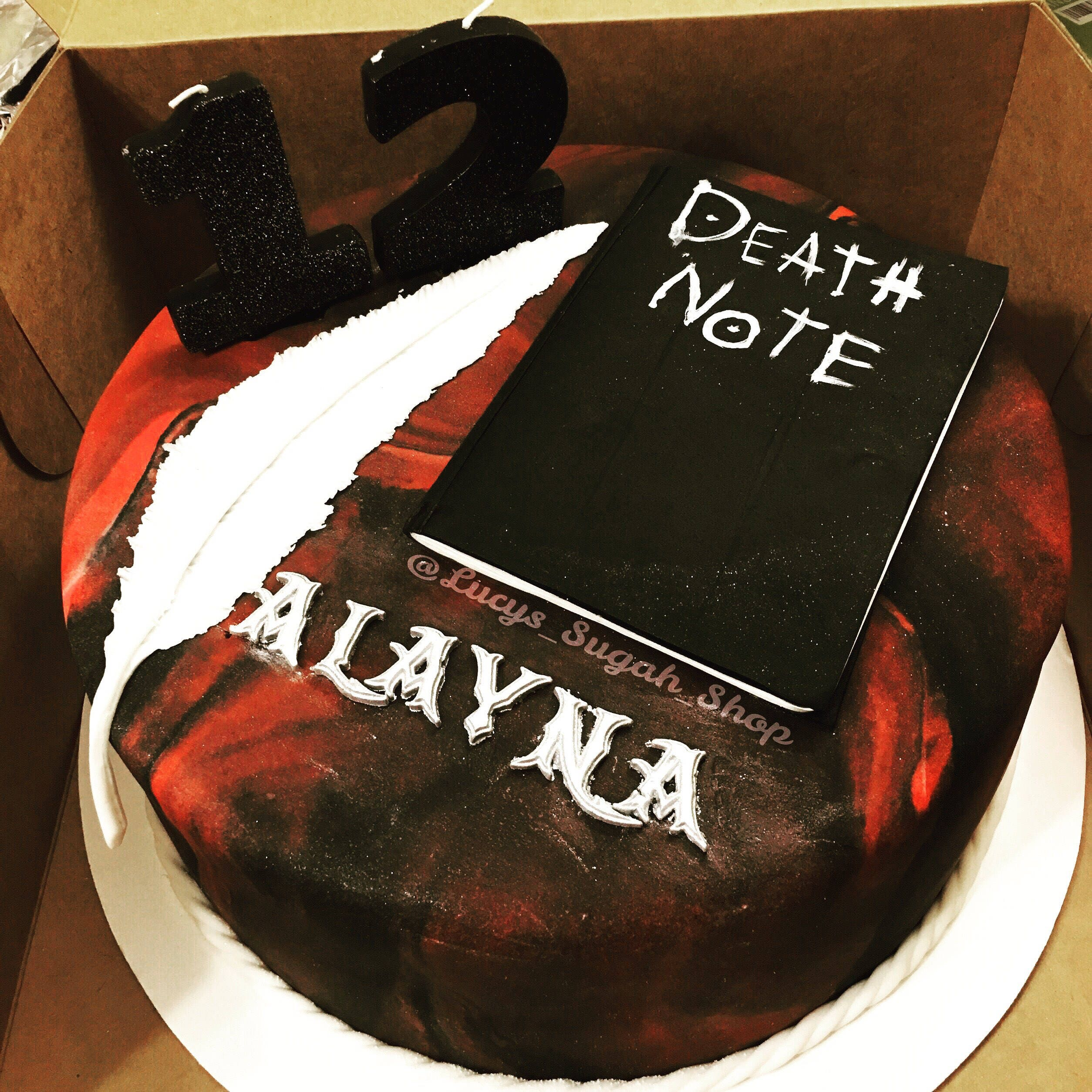 3 pc. Set Death Note Notebook, Feather and Name of your choice Cake ...