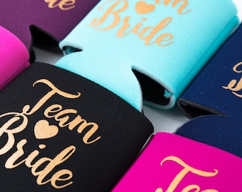 SAMPLE SALE! Team Bride Drink Coolers | Bachelorette Drink Favors, Bachelorette Party Team Bride Favors, Beer Bottle Can Cooler, Pool Party