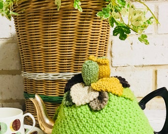 Vintage Green Knitted Tea Cosy with Gumnuts and Leaves | Retro Tea Cosy