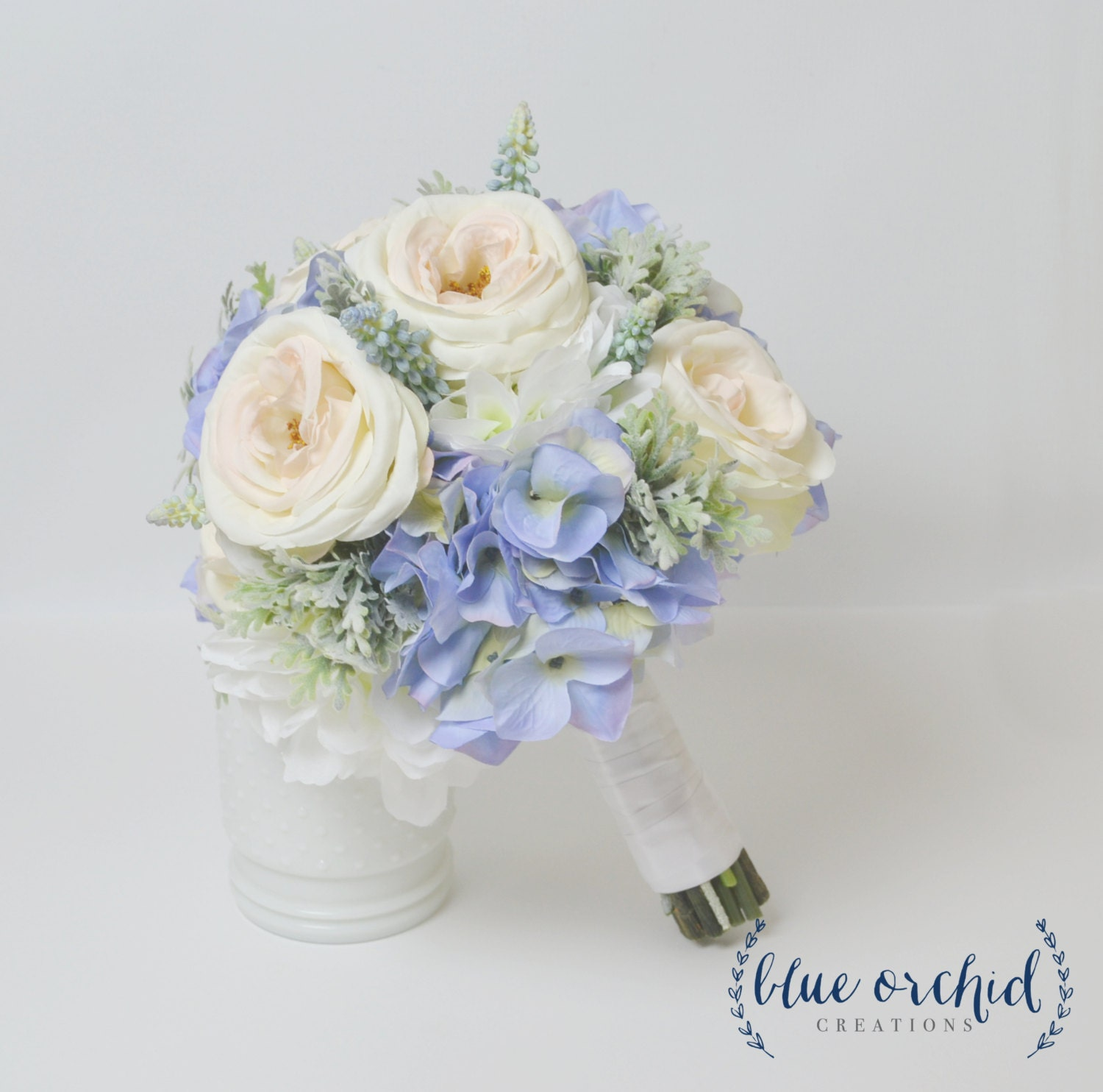 Blue Hydrangea Wedding Flowers: Blue Hydrangea Bouquet With Blush Garden Roses And Dusty