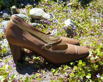 Amalfi by Rangoni Brown Leather Mary Jane Pumps Size 7