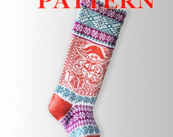 Pattern Knit Christmas Stocking/ Little Gnome/ Santa Sock/ Large Stocking/Modern Holiday / Dollar /PDF Knitting Pattern – A3