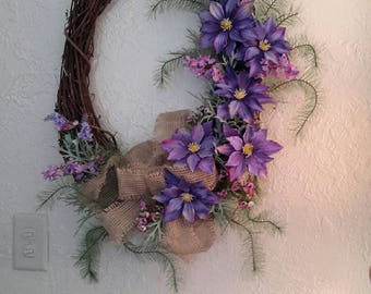 Shades of Purple, Larger Oval Grapevine, Clematis Fern Fronds, Lilacs, Front Door Wreath