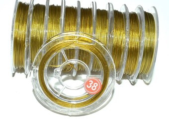 Roll of wrapped steel wire (0.38 mm) - gold - 10 m - FILM15OR695