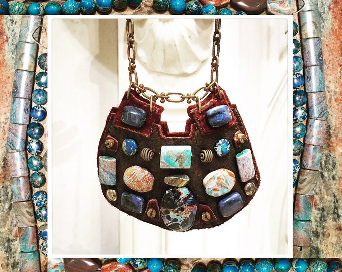 Featured listing image: THE SHIELD NECKLACE by Gilded-Mane : African Turquoise, Jasper and Lapis Beads on Chocolate Deerskin Leather, Large