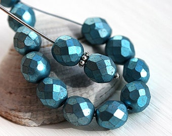 Metallic Blue beads 8mm Czech round beads, fire polished, faceted beads - 15Pc - 2743