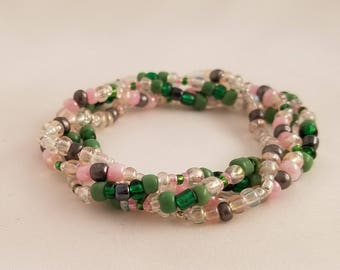 Pink and Green Bead Bracelet - Green Pink Bracelet - Pink Camo Bead Bracelet - Stacking Stretch Beaded Bracelet - Stacking Bracelet Set