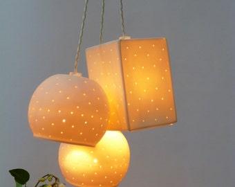 Three bells, Perforated Porcelain, Pendant lights