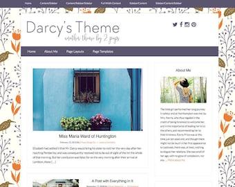 Vintage Wordpress Theme, Blog template, Design for Bloggers, Purple Wordpress Template
