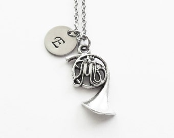 French Horn Necklace Silver Initial Wind Instrument Band Orchestra Symphony Personalized Letter Initial Monogram Hand Stamped