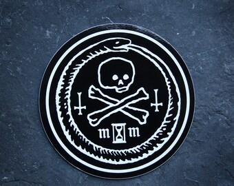 Ouroboros with skull, memento mori - vinyl STICKER
