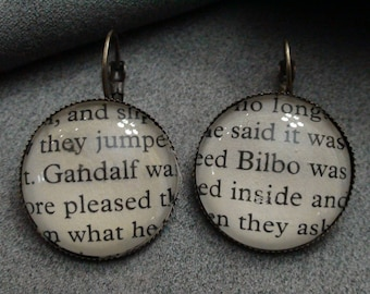 J.R.R Tolkien Hobbit Bilbo Gandalf Cabochon Earrings From The Hobbit book pages E2