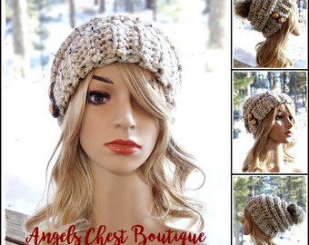 The SAWTOOTH Slouchy Hat with wooden buttons - OATMEAL Color - Custom color available - Crochet Slouch Beanie Hat by AngelsChest -