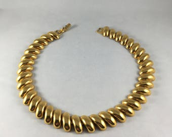 """Napier Gold Plated Choker Necklace 16 1/2"""" Solid Heavy"""