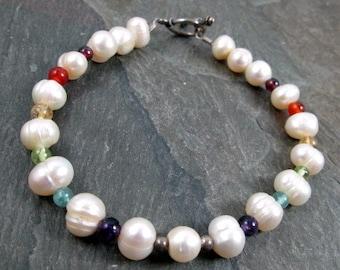 Pearl Bracelet - Ivory Pearl - Rainbow Gemstone - Pearl Jewelry - Gemstone Jewelry - Rainbow Pride Bracelet