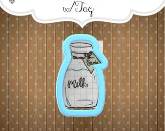 Milk Bottle with Tag cookie cutter