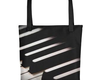 Low Key Piano Music Black and White Monochrome Tote bag