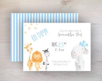 Baby Animal Baby Shower, Cute Animals, Baby Shower, Elephant, Lion, Giraffe, Zebra, Sweet, Simple, Modern, PDF, Printable