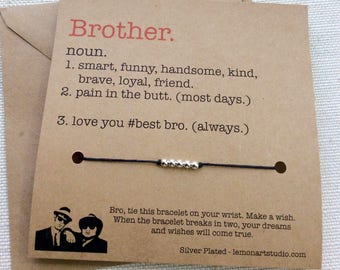 Brother Gift For Brother Birthday Gift For Brother Gifts For Brother Birthday Card For Brother Gift For Him Gift For Men Wish Bracelet