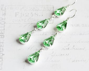Green Drop Earrings, Light Green Earrings on Silver Plated Hooks, Teardrop Dangle Earrings, Rhinestone Jewelry, Vintage Glass