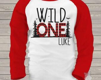 First 1st birthday wild one shirt - wild one buffalo plaid first birthday raglan shirt  MBD-031