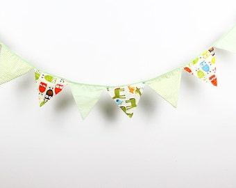 3.2M 12 flags Cartoon Bunting Party Birthday Baby Shower Decoration Photo Prop Background Cotton Fabric Garland Vintage Room Decor