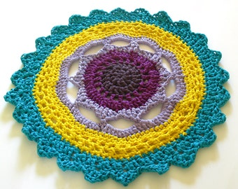 SALE - Crocheted, Round Rug - FLOWER RUG - five colours