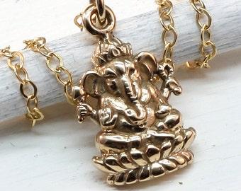 Ganesha Necklace, Italian Bronze, Gold Ganesh,Buddhist,Buddhist Jewelry,Yoga Jewelry, Ganesh Charm,Ganesh Pendant,Zen,Yoga,Karma