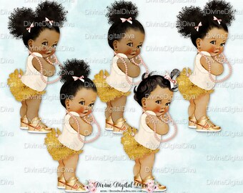 Ruffle Pants Ivory Peach & Gold High Top Sneakers Pearls | Babies of Color Set African American Afro Puffs | Clipart Instant Download