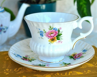 Crown Staffordshire Scalloped Floral Teacup and Saucer Bone Chine England