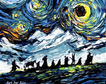 Lord of the Rings Art - LOTR van Gogh Never Saw The Fellowship - Giclee print by Aja 8x8, 10x10, 12x12, 20x20, and 24x24 choose size