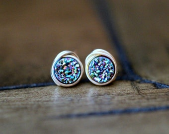 Druzy Studs , Tiny Green Rainbow Post Earrings , Gold , Sterling Silver , Rose Gold , Minimalist Everyday Fashion - Micros