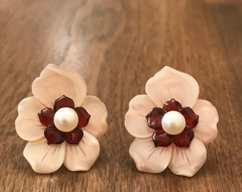 White 4mm Pearl Stud Earrings; Garnet & Pink Mother of Pearl Flower Jackets 14K Yellow Gold