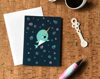Mother's Day Card | Baby Shower Card | Birthday Card | Bon Voyage Card | Baby Narwhal Unicorn of the Sea with Bubbles Greeting Card