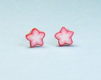 Teeny Tiny Little Red and White Star Stud Earrings