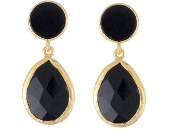 Medium Size Balck Onyx Earrings in gold Vermeil over sterling silver