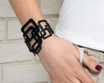 Laser cut leather bracelet , black leather bracelet , statement bracelet  , Boho bracelet , gothic jewelry(V-3129)