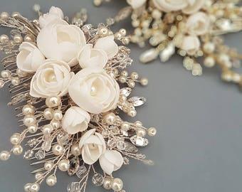 Ivory Silver Bridal hair comb, Floral Bridal headpiece, Bridal hair piece, Wedding hair piece, Wedding hair comb, Wedding headpiece