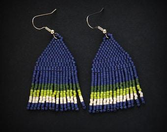 Blue and green beaded fringe earrings Boho seed bead earrings Bohemian fashion jewelry for women Beaded dangle earrings Unusual jewelry gift