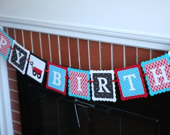 Red Wagon Happy Birthday Banner, Little Red Wagon Birthday, Red Wagon Party, Little Wagon, 1st Birthday