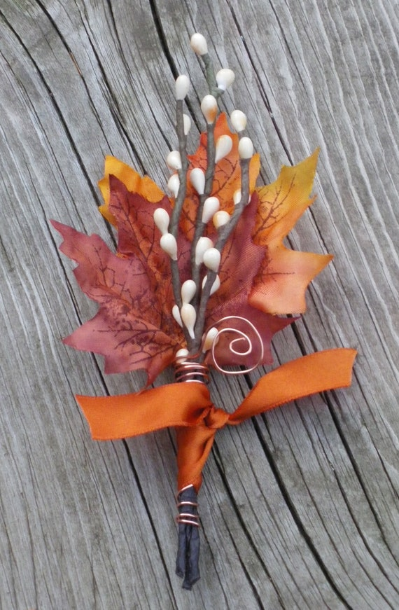 Fall Wedding Boutonniere Maple & Twigs