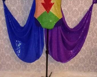 Rainbow Leotard With cape and Rainbow Glitter Battle Armor Drag Queen Costume
